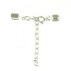 silver Leather end with Chain 105-1347 chain