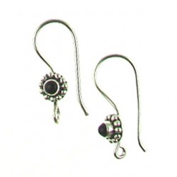 sterling silver fishhook black onyx ss-e110