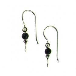 sterling silver fishhook black onyx ss-e114