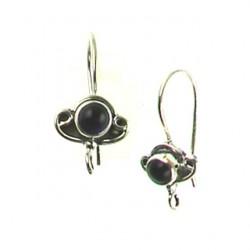 sterling silver fishhook black onyx ss-e119