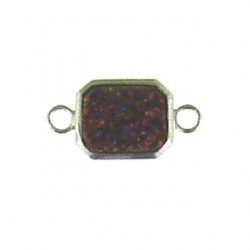 sterling silver  red rainbow rectangle ss-dr131