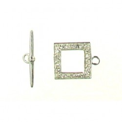 sterling silver square toggle with CZ 91-0537