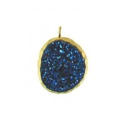 vermeil nugget blue drusy v-dp111