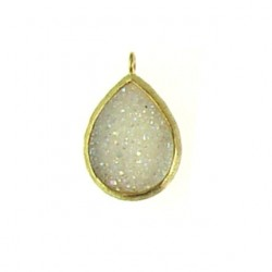 vermeil white drusy drop v-dp101
