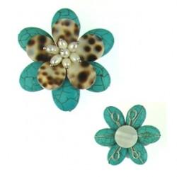pendant flower rec turquoise flo-p114