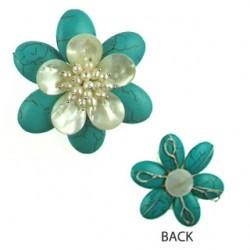 pendant rec turquoise flower flo-p113