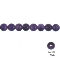 rounde faceted large hole amethyst am-f141