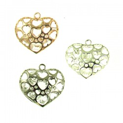 Brass Heart with Crystal Bead