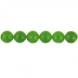 Green Qtz Faceted Round Beads