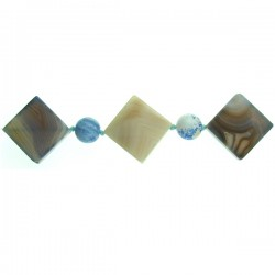 Blue Agate Square with 16mm bead