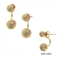 CZ Ball RG Earring 8mm+6mm