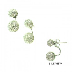 CZ Ball SS Earring 8mm+6mm.