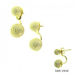 CZ Ball V Earring 8mm+6mm.