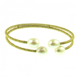 Pearl Bracelet- Two Gold Tone