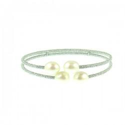 Pearl Bracelet- Two Silver Tone
