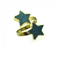 Drusy Double Star Ring