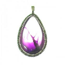 Purple Crystal Teardrop Pendant