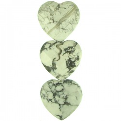 White Howlite Faceted Heart 38x41mm