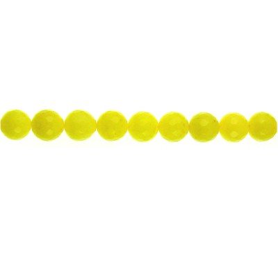 Yellow Dyed Qtz Faceted Round