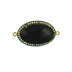 Faceted Black Onyx Piece with Clear Crystals