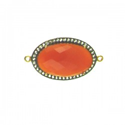 Faceted Carnelian Piece with Clear Crystals