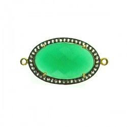 Faceted Green Onyx Piece with Clear Crystals