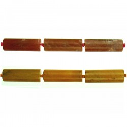 Agate Tube Beads Yellow Tone