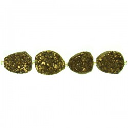 Drusy Agate Coated Nugget - Gold