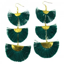 Earring Dark Green Three levels