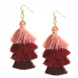 Earring Red Multicolor Tassel